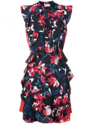 Платье с цветочным принтом и оборками Tanya Taylor. Цвет: синий