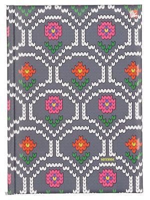 Книга для записей с поролоном 80 листов.Орнамент Вязаные цветы Канц-Эксмо. Цвет: фиолетовый, красный, розовый