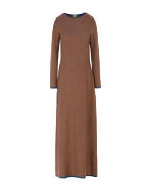 Длинное платье SIYU. Цвет: коричневый