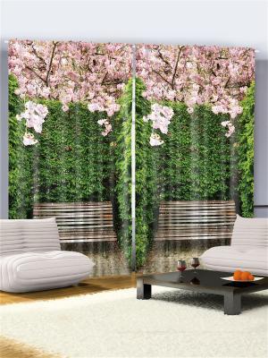 Фотошторы Скамейка в цветущем саду, 290*265 см Magic Lady. Цвет: темно-зеленый, розовый, черный