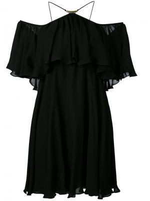 Платье с открытыми плечами и рюшами Plein Sud. Цвет: чёрный
