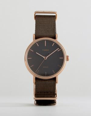 Timex Часы с парусиновым ремешком TW2R48900. Цвет: черный