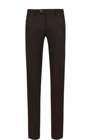 Шерстяные брюки прямого кроя Germano. Цвет: коричневый