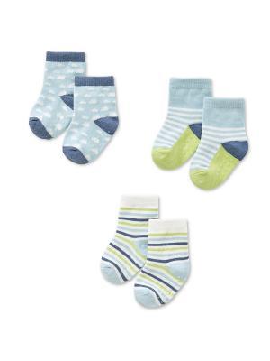 Трикотажные носочки, 3 пары HappyBabyDays. Цвет: голубой