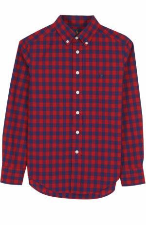 Хлопковая рубашка в клетку Polo Ralph Lauren. Цвет: красный
