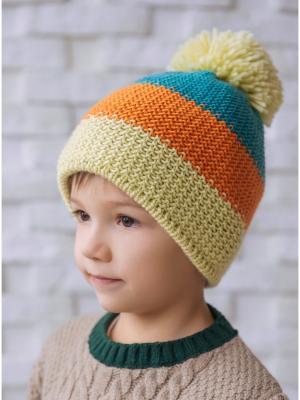 Шапка Logro-kids. Цвет: бирюзовый, оливковый, оранжевый