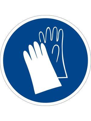Наклейка информационная Работать в защитных перчатках (2 шт.) Оранжевый Слоник. Цвет: синий