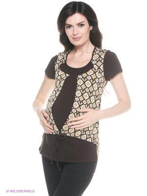 Блузка для беременных и кормления 40 недель. Цвет: коричневый