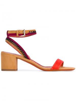 Босоножки на каблуках-столбиках Santoni. Цвет: жёлтый и оранжевый