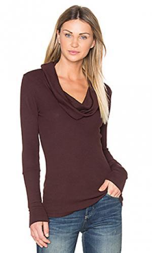 Теплый топ из модала с длинным рукавом и широким вырезом Bobi. Цвет: коричневый