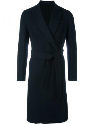 Пальто с поясом Caruso. Цвет: синий