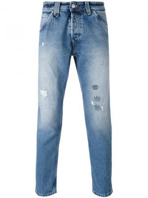 Укороченные рваные джинсы Cycle. Цвет: синий