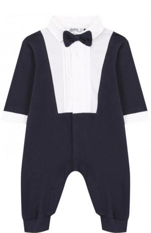 Хлопковый комбинезон с декоративным галстуком-бабочкой Aletta. Цвет: темно-синий