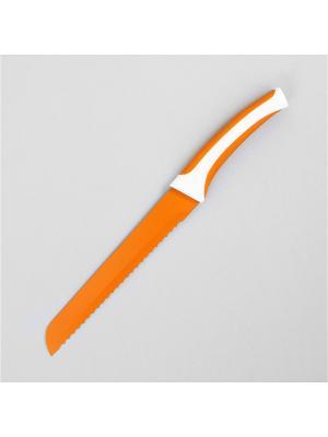 Нож для хлеба, металлический с керамическим напылением lilium оранжевый 20 см MOULINvilla. Цвет: оранжевый