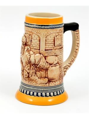 Пивная кружка коллекционная BURGER. Цвет: коричневый, оранжевый, темно-бежевый