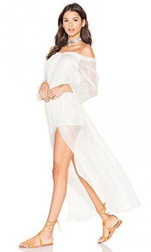 Макси платье со сборками LoveShackFancy. Цвет: ivory