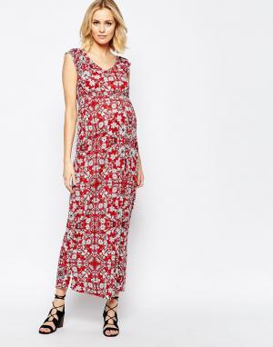 Mama.licious Трикотажное платье макси для беременных с цветочным принтом Mamaliciou. Цвет: мульти