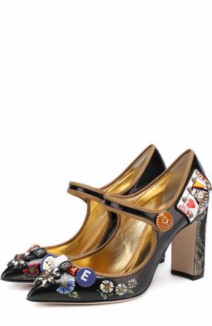 Лаковые туфли Vally с декоративной отделкой Dolce & Gabbana. Цвет: черный