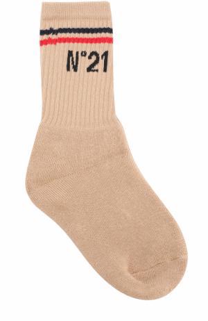 Хлопковые носки с логотипом бренда No. 21. Цвет: бежевый