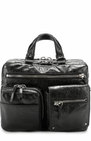 Кожаная дорожная сумка с плечевым ремнем Valentino. Цвет: черный