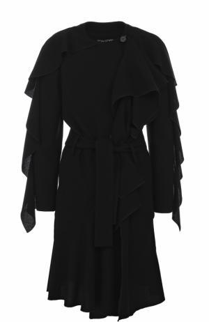 Шерстяное пальто с оборками и поясом Tom Ford. Цвет: черный