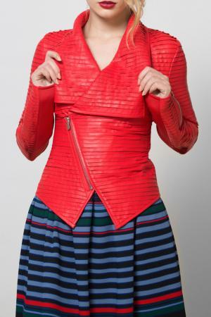 Куртка кожаная SUSSEX. Цвет: красный