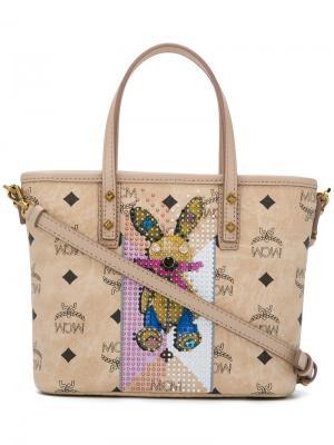 Декорированная сумка через плечо MCM. Цвет: телесный