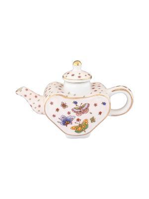 Сувенир-чайник Бабочки Elan Gallery. Цвет: бледно-розовый, оранжевый, синий