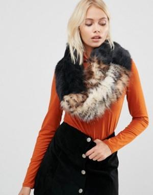 Urbancode Свободный широкий шарф-снуд из искусственного меха. Цвет: черный