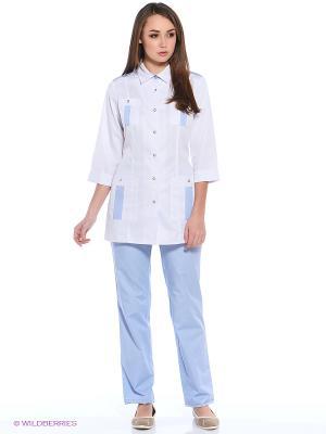 Халат медицинский Med Fashion Lab. Цвет: белый, голубой