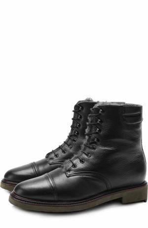 Кожаные ботинки с внутренней отделкой из овчины ROBERT CLERGERIE. Цвет: черный