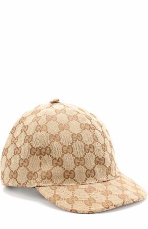 Бейсболка с принтом Gucci. Цвет: коричневый