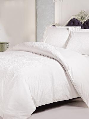 Комплект постельного белья ЕВРО Jardin. Цвет: белый