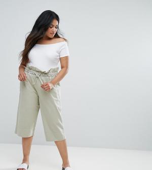 ASOS Curve Укороченные брюки-галифе в стиле милитари. Цвет: зеленый