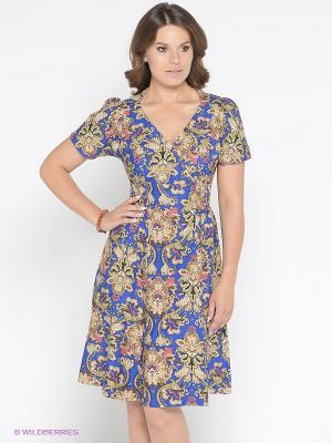 Платье AKIMBO. Цвет: синий, бежевый