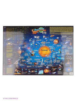 Настольная карта Солнечной системы для детей Бумбарам. Цвет: черный, синий, желтый