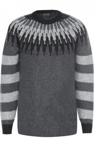 Шерстяной свитер с контрастным узором Daniele Fiesoli. Цвет: темно-серый