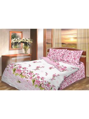 Комплект постельного белья из бязи Евро Василиса. Цвет: розовый, белый