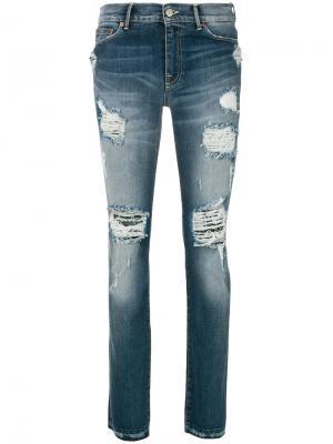 Состаренные джинсы Htc Hollywood Trading Company. Цвет: синий
