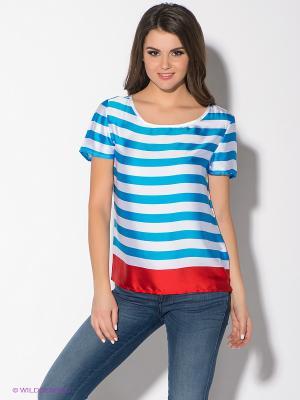 Блузка Oodji. Цвет: белый, синий, красный