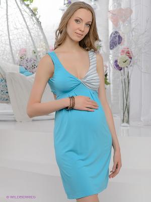 Платье UNIOSTAR. Цвет: голубой, серый