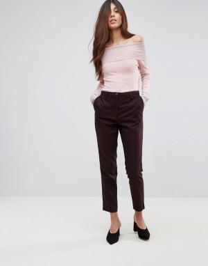 Selected Приталенные брюки из смешанной шерсти Valina. Цвет: коричневый