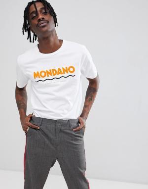 Wood Футболка с крупным логотипом Mondano. Цвет: белый