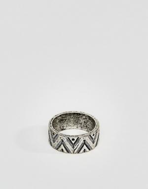Classics 77 Серебристое кольцо в ацтекском стиле. Цвет: серебряный