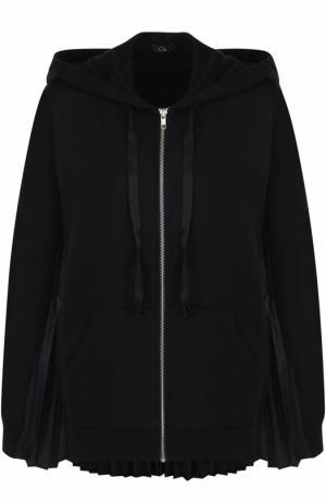 Хлопковый пуловер с плиссированными вставками и капюшоном Clu. Цвет: черный