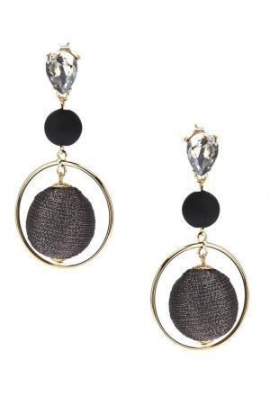 Комбинированные серьги с серыми шарами Lisa Smith. Цвет: темно-лиловый/черный/прозрачный/золотой