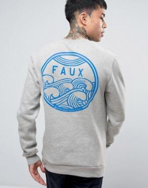 Friend or Faux Свитшот с принтом на спине Cyclone. Цвет: серый