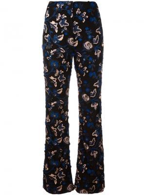 Расклешенные брюки с вышивкой Self-Portrait. Цвет: чёрный