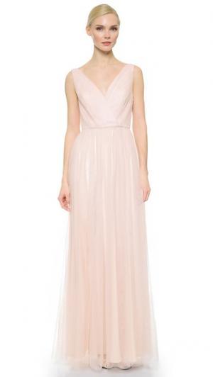 Двутонное вечернее платье с V-образным вырезом и сборками Monique Lhuillier Bridesmaids. Цвет: нежно-розовый/лаванда
