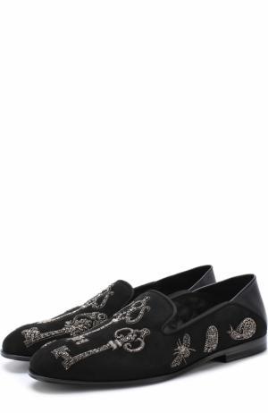 Замшевые слиперы с декоративной отделкой Alexander McQueen. Цвет: черный